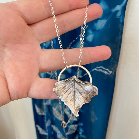 Soild Silver cottonwood leaf necklace