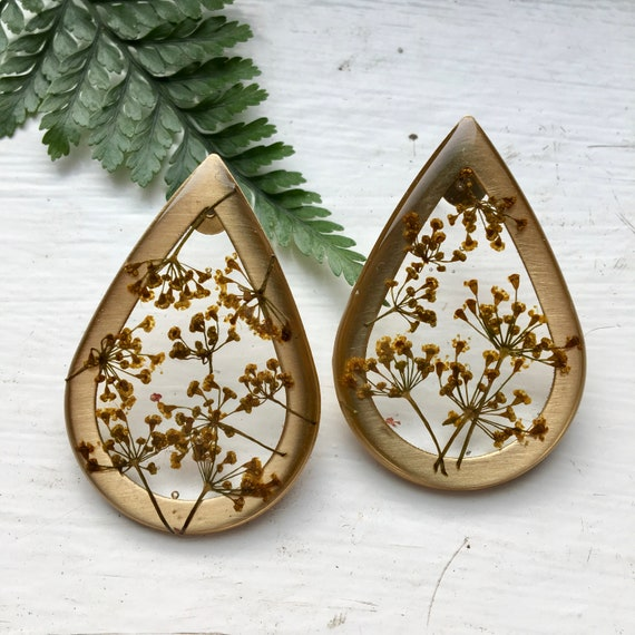 Bronze fennel flower large teardrop post earrings