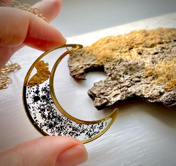 Icelandic black sand and gold flake Crescent moon necklace