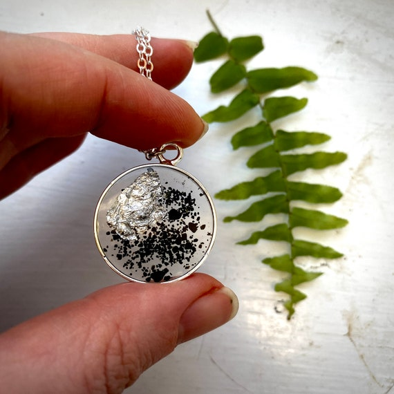 Icelandic black sand and silver flake circle necklace