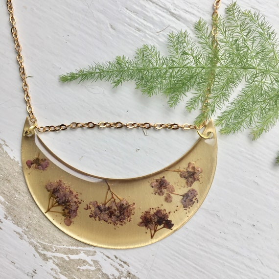 Japanese spirea flower crescent necklace