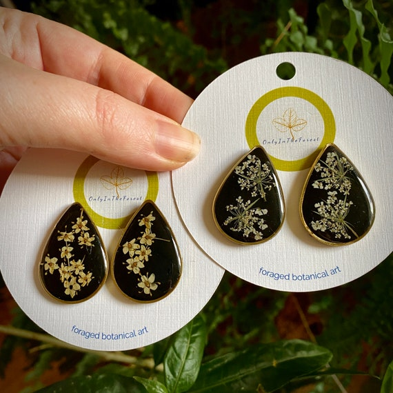 Elderflower or Poison hemlock black backed teardrop post earrings