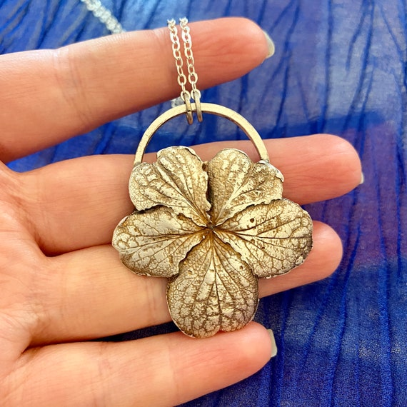 Recycled Silver hydrangea flower necklace