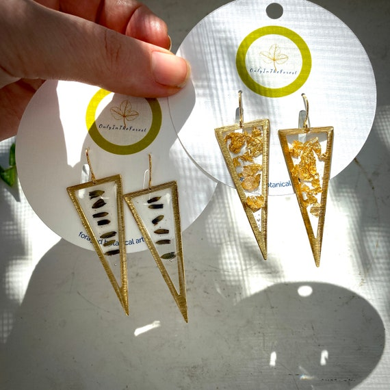 Lavender bud or gold flake gold triangle earrings