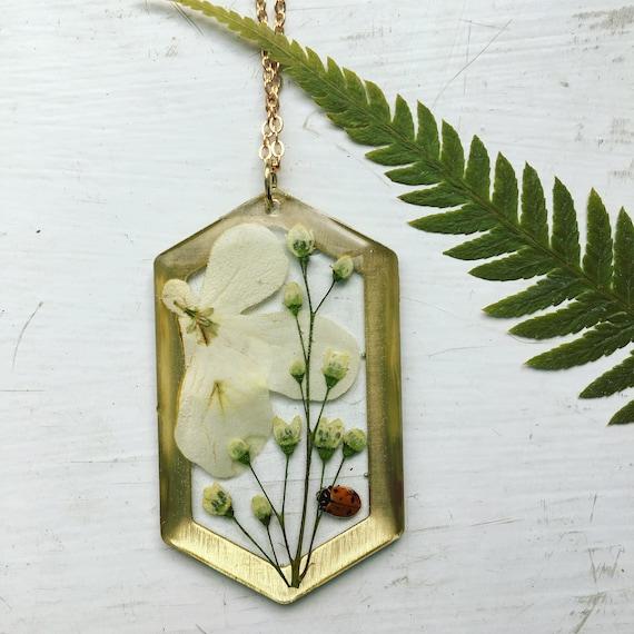wild viburnum and ladybug brass hexagon necklace