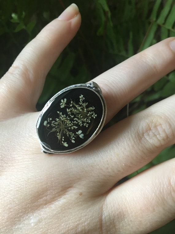 Fancy silver Queen Anne's lace adjustable ring