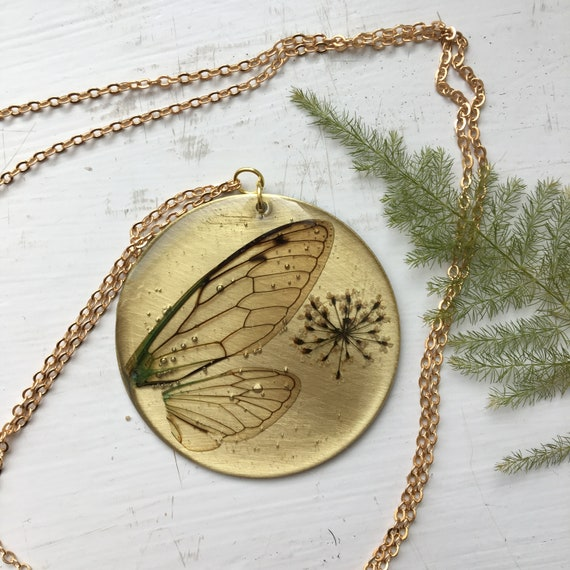 Cicada wing brass circle necklace