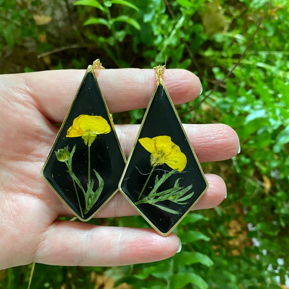 Buttercup flower  resin necklaces