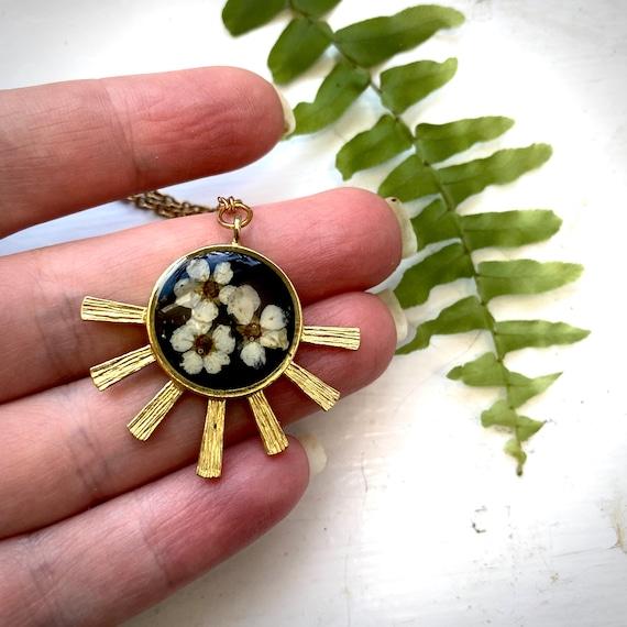 Brass spirea sun necklaces