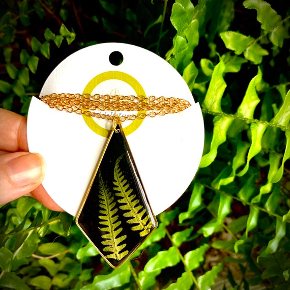 lady fern polygon resin necklace