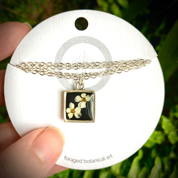 Bitty Spirea silver square necklace