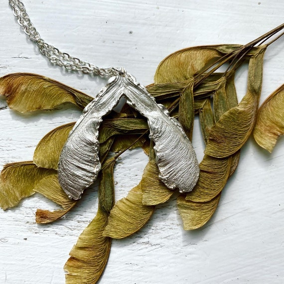 Sterling silver maple samara necklace