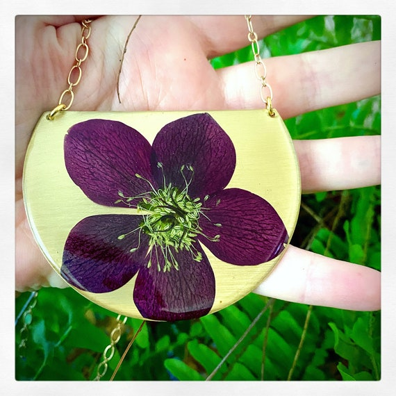 Lenten rose statement necklace
