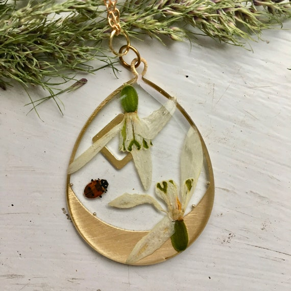 Shiny Brass teardrop snowdrop flower necklace