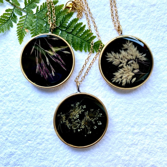 Backed brass circle necklaces