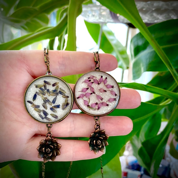 Antique bronze lavender and heather dangly necklaces