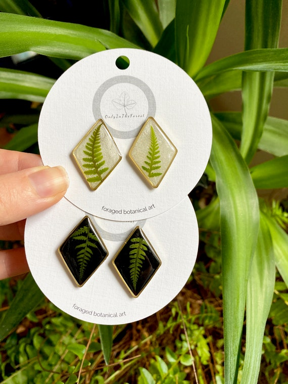 lady fern diamond stud earrings boho hippie