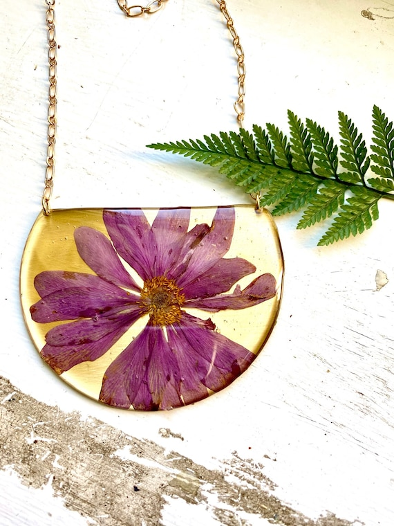Pink cosmos statement necklace