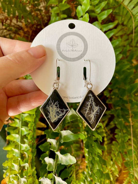 Tree lichen silver diamond earrings