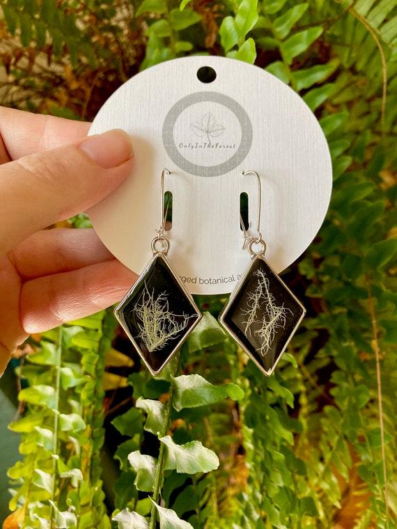 Tree lichen silver diamond earrings