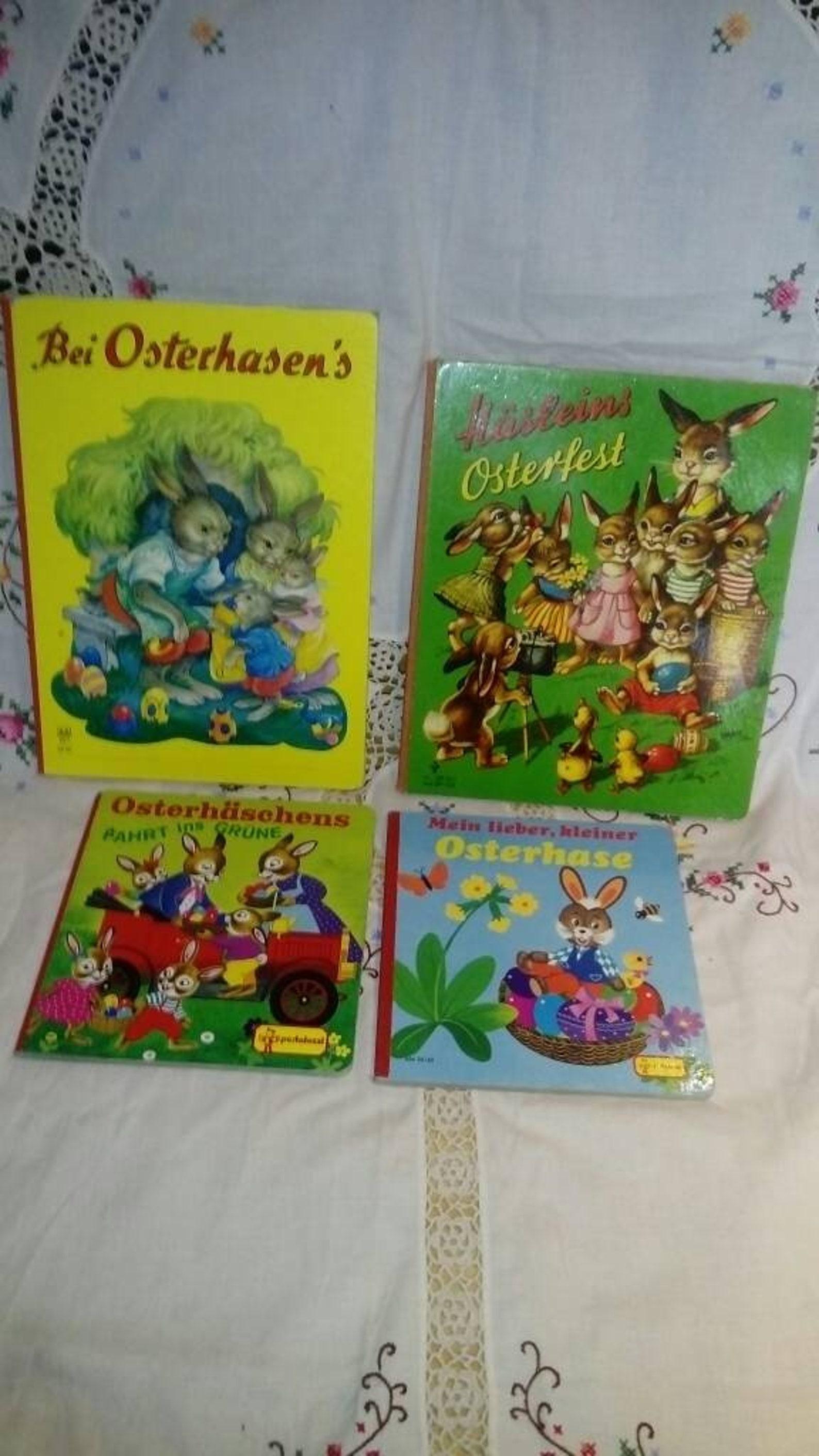 4 Vintage German Easter Childrens Book Collection~German Easter for Children~Hard Back