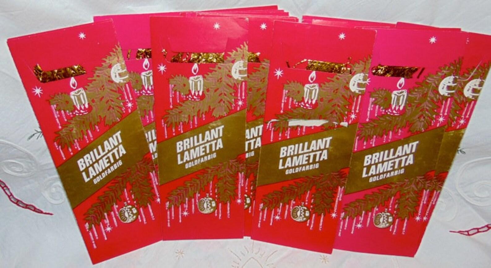 Vintage German Tinsel in Original Package~Metal Tinsel~Gold Lametta Tinsel~GOLD~1 PACKAGE per PURCHASE**Buy 2 get 1 Free Deal**