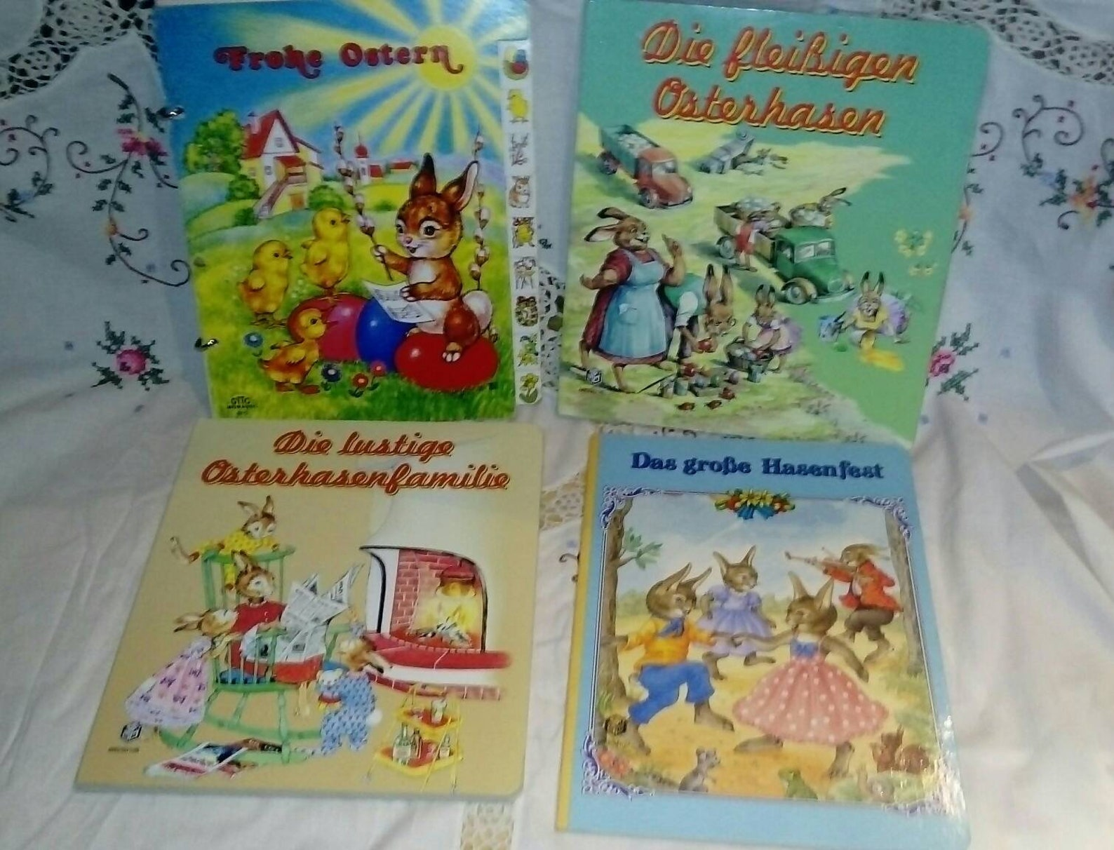 4 Vintage German Easter Childrens Book Collection~German Easter for Children~Hard Back~