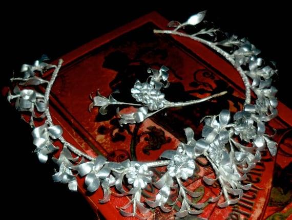 Elegant Vintage German Myrtle Wedding Crown with M