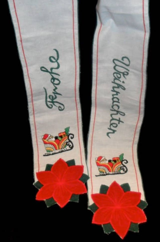 Vintage German Christmas Door or Wreath Cotton Ribbon~Merry Christmas~Frohe Weihnachten~Embroidered Christmas Ribbon~German Christmas~