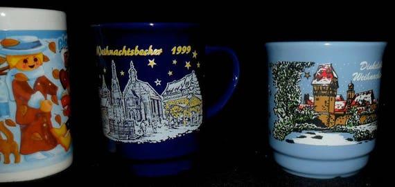 4 German Christmas Mulled Wine Mugs