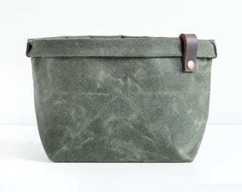 Waxed canvas planter storage bin waxed cotton fabric basket