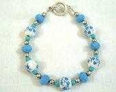 Blue porcelain bracelet, wooden bracelet, flower bracelet, white bracelet, floral bracelet