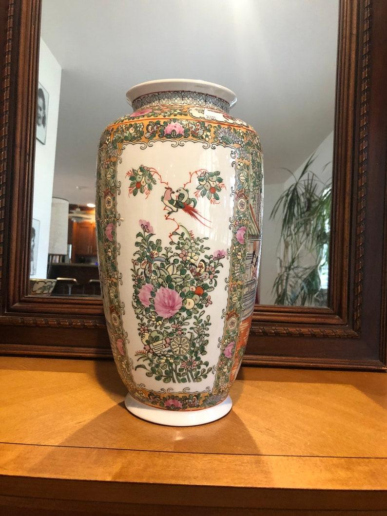 Tall Rose Medallion Vase