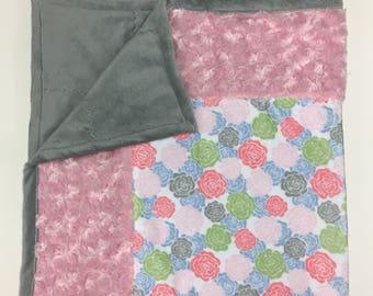 Rose Petal Pink Minky Baby Blanket