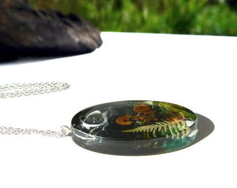 Real fern leaf, unique resin necklace, unique resin jewelry, gift for nature lover, boho jewelry