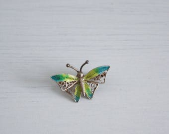 Small butterfly brooch, enamelled and filigree, silver metal, Italy years ' 40
