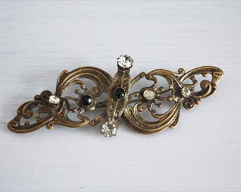 Great Art Nouveau brooch, decorated with black beads and white rhinestones, Italy ' 10