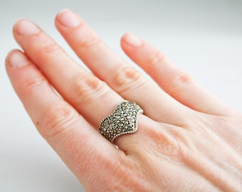 Vintage ring V-band in Sterling Silver pavé, anni ' 80