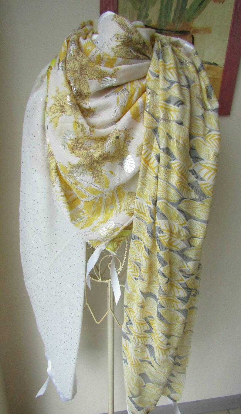 Scarf Shanna yellow and grey Scarf style Shanna Summer scarf woman. Large Shanna style scarf in yellow tones Woman/'s gift