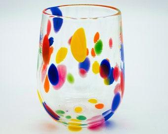 Hand Blown Glass: Rainbow Dots Stemless Wine Glass