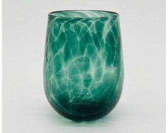 Hand Blown Glass: Steel Grey (Green) Stemless Wine Glass