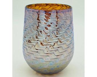 "Hand Blown Glass: Bronze ""Dragon Scales"" Stemless Wine Glass"
