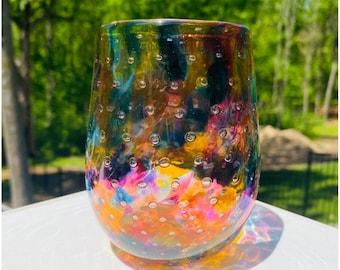 Hand Blown Glass: Orange Mix Bubble Stemless Wine Glass