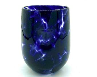 Hand Blown Glass: Indigo Purple Stemless Wine Glass