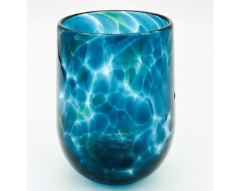 Hand Blown Glass: Steel Blue Stemless Wine Glass