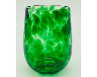 Hand Blown Glass: Emerald Green Stemless Wine Glass