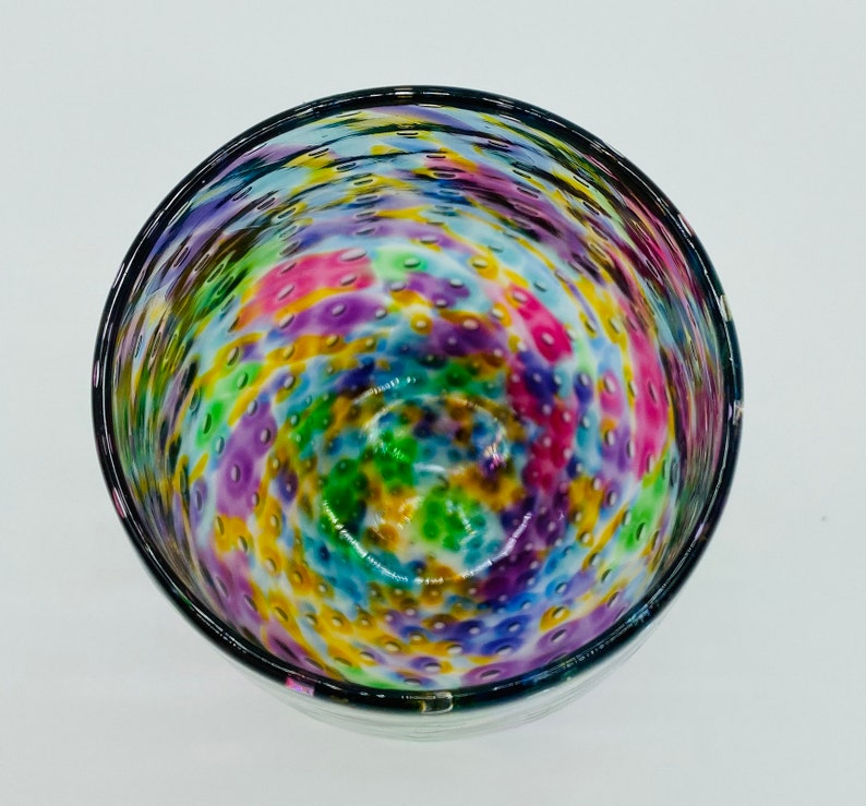 Purple Mix Bubble Stemless Wine Glass Hand Blown Glass
