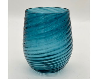 Hand Blown Glass: Steel Blue Optic Twist Stemless Wine Glass