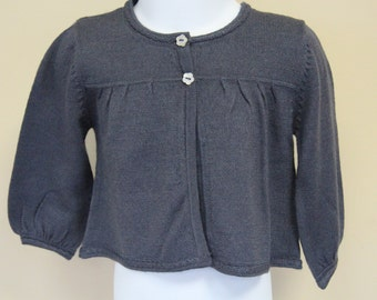 Baby Girl's Button Down Cardigan Top Merino Wool Cashmere Silk Blend Mother of Pearl Flower Buttons- 9M