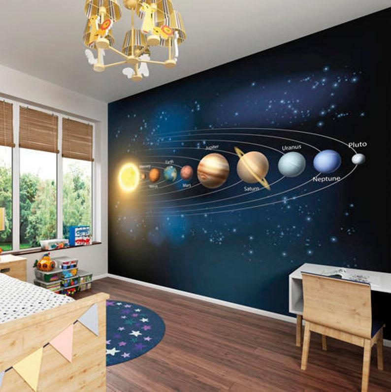 Système Solaire Univers Planètes Papier Peint Mural Espace Etsy